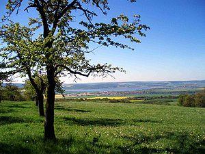 Berga, Saxony-Anhalt - View of Berga and the Kelbra reservoir