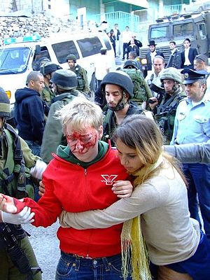 International Solidarity Movement - 19-year-old Swedish ISM volunteer wounded by Israeli settlers in Hebron in November 2006.