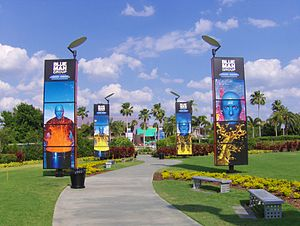 Universal Orlando - Walkway entrance to the Theatre from CityWalk, shown prior to the construction of the Hollywood Rip Ride Rockit roller coaster.