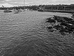 Boats in Puerto Ayora Galapagos photograhed in black and white.JPG