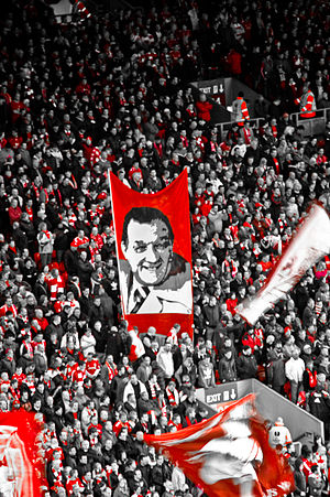 Liverpool fans with a banner depicting Paisley Bob Paisley banner.jpg