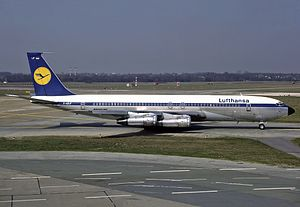 Lufthansa - In 1960 Lufthansa joined the jet age with the Boeing 707. The image shows a 707 at Hamburg Airport in 1984, shortly before the type was retired.