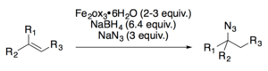 The iron-catalyzed hydroazidation of substituted alkene pubished by Boger.
