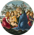 Botticelli - Madonna Adoring the Child with Five Angels (Baltimore Museum of Art).png