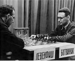 Grigory Levenfish - Levenfish (left) takes on Botvinnik (right) in their 1937 match