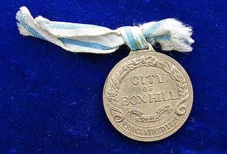 City of Box Hill - 1957 Box Hill, Commemorative Medal for the Celebration of the Centenary of Local Government, reverse