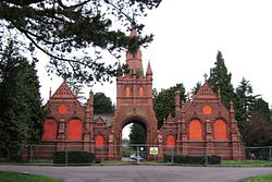 Brandwood End Cemetery, entrance and mortuary chapels (9 April 2009).jpg