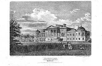 John Byng - 1820 view of Wrotham Park in Hertfordshire, the house built by John Byng