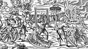 Breaking wheel - The execution of Peter Stumpp, involving the breaking wheel in use in Cologne in the early modern period