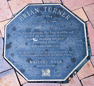 Brian Turner (New Zealand poet) - Image: Brian Turner memorial plaque in Dunedin
