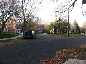 Highland Park Neighborhood Historic District - Brick intersection in Highland Park, November 2009