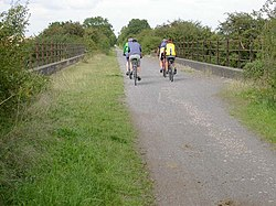 Bridge with Serious Cyclists - geograph.org.uk - 224991.jpg