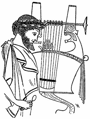 Cithara - Greek vase drawing depicting a man playing a kithara with eight strings.