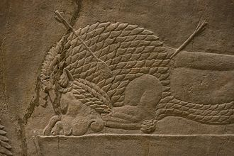 Lion Hunt of Ashurbanipal - Detail of dead lion