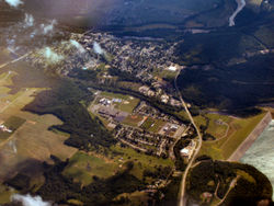 Aerial view of Brookville from the northeast