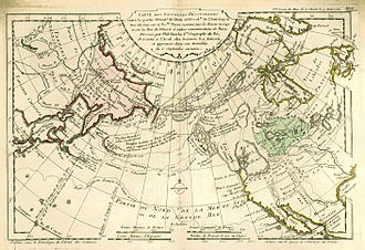 """Philippe Buache - This 1753 map by Philippe Buache locates Fusang (""""Fou-Sang des Chinois"""", """"Fusang of the Chinese"""") north of the State of California."""