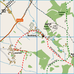 Map showing the villages of Buckland and Laverton, with the routes of the long distance footpaths.