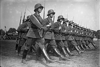 Goose step - German soldiers of the Weimar Republic's Reichswehr goosestepping in 1931.
