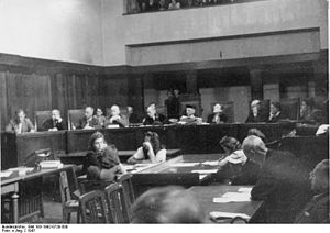 Sonnenstein Euthanasia Centre - The jury courtroom in 1947 during the Dresden Doctors' Trial for the crimes committed at Sonnenstein