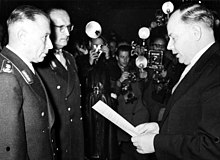 Dr. Hans Speidel, Adolf Heusinger and Theodor Anton Blank at the establishment of the new German army, the Bundeswehr, in 1955