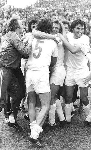 1974–75 FDGB-Pokal - Zwickau's players celebrate their cup win
