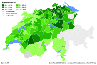 Swiss People's Party - Percentages of the SVP at district level in 2011