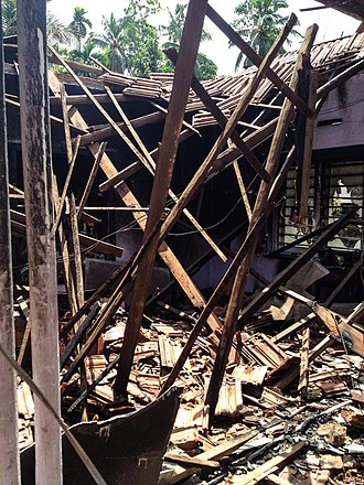 2014 anti-Muslim riots in Sri Lanka - A burnt-out house in Aluthgama
