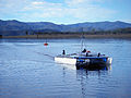 CSIRO ScienceImage 11645 CSIROs autonomous solarpowered catamaran on Lake Wivenhoe travels between floating nodes gathering data.jpg