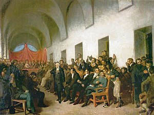 Cornelio Saavedra - The open cabildo, by Juan Manuel Blanes, during Saavedra's speech.