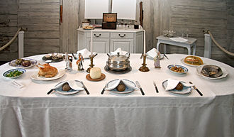 Swedish cuisine - Modern interpretation of the dinner table of Cajsa Warg (1703-1769), the most prolific Swedish cookbook author of the late 18th and early 19th centuries.