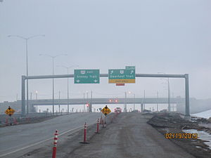 Stoney Trail - Looking east at Cranston (Lake McKenzie) interchange, February 2013