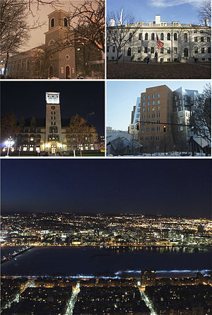 Clockwise from top left: Christ Church، University Hall at ہارورڈ یونیورسٹی، Ray and Maria Stata Center at the میساچوسٹس انسٹیٹیوٹ برائے ٹیکنالوجی، the Cambridge skyline and Charles River at night, and Cambridge City Hall۔