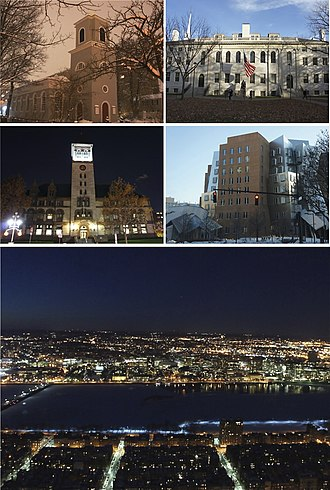 Cambridge, Massachusetts - Clockwise from top left: Christ Church, University Hall at Harvard University, Ray and Maria Stata Center at the Massachusetts Institute of Technology, the Cambridge skyline and Charles River at night, and Cambridge City Hall