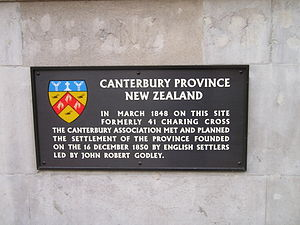 Canterbury Association - Plaque commemorating the first meeting of the Canterbury Association