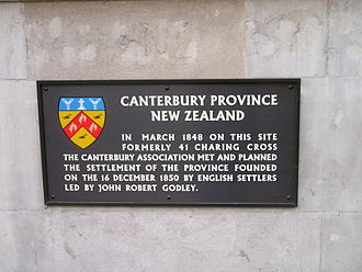 Canterbury Association - Plaque at 22 Whitehall, London, commemorating the first meeting of the Canterbury Association