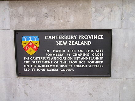 Plaque at 22 Whitehall, London, commemorating the first meeting of the Canterbury Association CanterburyAssociationPlaque.JPG