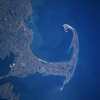 "Mayflower - Mayflower arrived in the ""Cape Cod fishhook"", 11 November 1620 (satellite photo, 1997)"