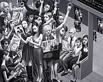 Monochrome painting of Tokyo subway commuters