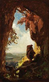 Gnome Watching Railway Train, Carl Spitzweg, 1848