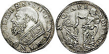 Doppio carlino di Clemente VII Medici, inciso da Cellini