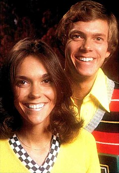 Colour photograph of Karen and Richard Carpenter, 1974