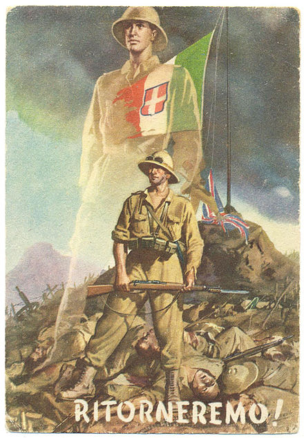 1941 propaganda poster calling on Italians to avenge the defeat in East Africa Cartolina Ritorneremo.jpg