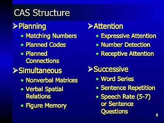 Das–Naglieri cognitive assessment system - Cognitive process subtests in the CAS battery