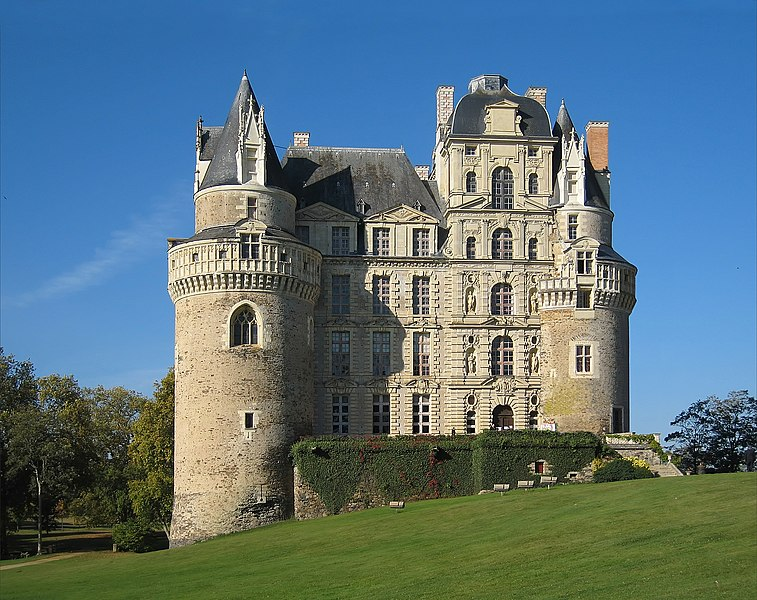 Castle Brissac, located in departement of Maine-et-Loire/France, eastern aspect (entrance).