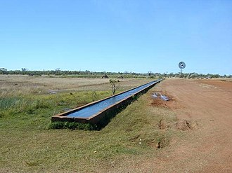 Stock route - A cattle trough and windmill on a Travelling Stock Route