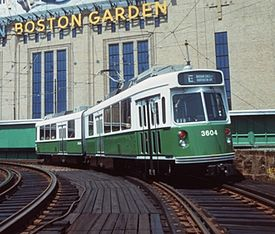streetcar on elevated tracks in front of Boston Garden
