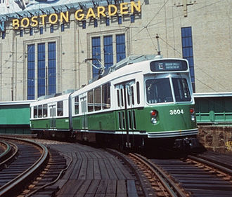 Causeway Street Elevated - An outbound Green Line train on the Causeway Elevated in front of Boston Garden.  The photo dates to between 1989 (Brigham Circle Line restored to Heath Street) and 1998 (Boston Garden demolished).