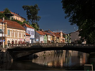 Knjaževac - Town centre with bridge over the Timok