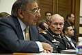 Chairman of the Joint Chiefs of Staff Army Gen. Martin Dempsey, right foreground, listens as Secretary of Defense Leon E. Panetta, left, delivers his opening statement to the House Armed Services Committee 111013-D-BW835-021.jpg