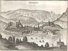 Peinture de la ville et du château de Chambéry en 1645